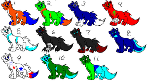 Free adoptables set 3!!! [OPEN] by Obsidianthewolf