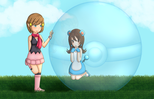 Comm - Trainer Gold and Marill Ju by Juliana1121