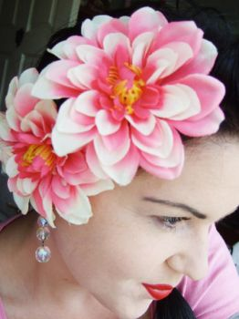 Pretty pink hair-flowers by rascalkosher