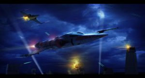 Star Wars Z95s attack an Imperial Outpost by AdamKop