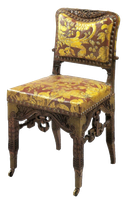 Gold and maroon antique chair by jinifur