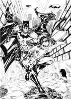 Batman and Robin in back alley by SpiderGuile