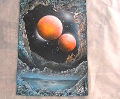 spray paint art , looking up from a planet hole by abtheartist