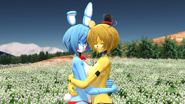 (MMD) Bonnie and Golden Freddy hugging (request) by zombienateisback