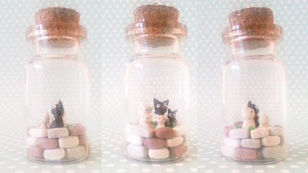 Polymer Clay : Jiji's family in a bottle by CraftCandies