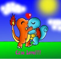 Charmander x Squirtle kiss commision by VOLTAREVILGIRL