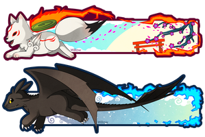 Chibiterasu and Toothless bookmarks by Willow-San