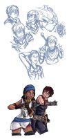 LadyHawke Sketches by TheRedGhost