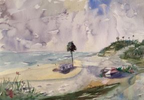 Beach painting with Keiko Tanabe by VLStone