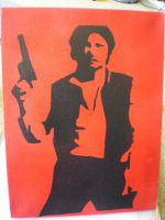 Han solo - stencil on canvas by moon-glaze