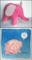 Sleepy Pink elephant by elbooga