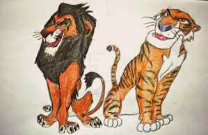 Scar and Shere Khan by kokeblacklion