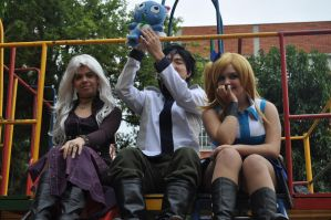 Mirajane, Gray, Happy and Lucy by claranugem