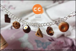 Custom chocolate/bakery charm bracelet by citruscouture