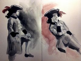 Colonial Costume Watercolor by ScrawnySquall