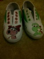 Yoshi and Birdo Shoes by StarClipse