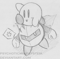 Kirby and Meta Knight Drawing by psychoticmindsystem
