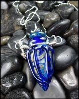 Earth Lotus - Lampwork Glass Bottle Pendant by andromeda