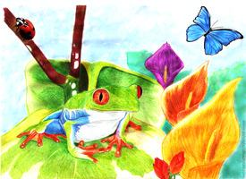 Colorful Frog by Ashaisha