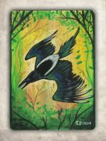 Magpie's Forest Flight by Crowtesque