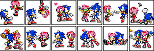 Sonic and Amy Sprites by LibbyKeppen