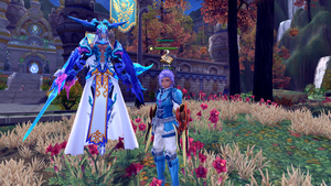 My character 'Toyosi' and my new Summon Sigrun by GuessStar