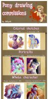 New commissions for pony drawings! by Adlynh
