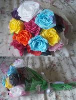 Tissue paper rose bouquet by Ilyere