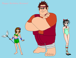 Happy B-Day-Ralph, Lucy and Vanellope Fatnasy RP by Dinalfos5