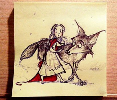 Sticky Note - Red Riding Hood and the Wolf by TansaKourti