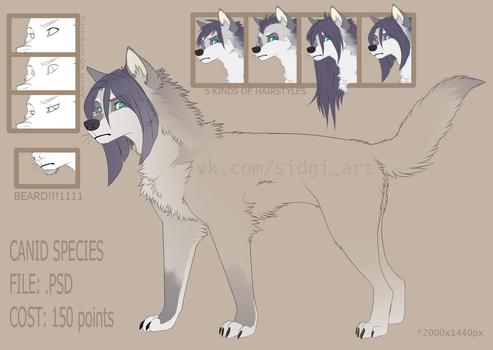 Canid p2u lineart 150 points by Sidgi