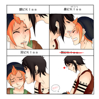 Kiss on the..-meme - Yasuo and Haruki by Nimmiii-tan