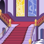 mlp S2E1 canterlot castle main stairs by matty4z