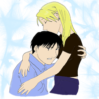 Roy Mustang and Riza Hawkeye by pyrogirlbl