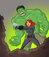 Hulk and Black Widow Assembled. by scootah91