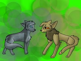 Bluefur and Thrushpelt~ by Vincenttheawesome
