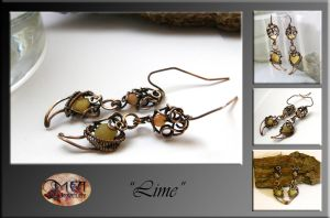 Lime- wire wrapped earrings by mea00