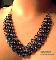 Blue Flat Ring Necklace by ulfchild