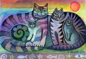 Cat family by karincharlotte