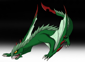 Green poisonous wyvern by SupaJeffrey