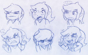 Toon Link Expression Sketches by Aviarei