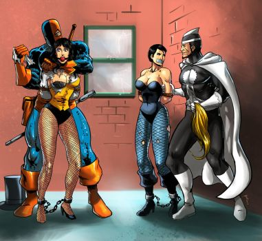 Captured by Deathstroke and Dr. Light by Taclobanon-Plus