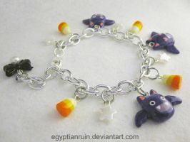 Halloween Bat and Candy Corn Spoopy Pearl Bracelet by egyptianruin
