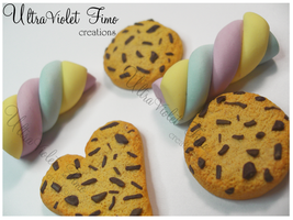 Polymer Clay - Marshmallow and Cookies by Crystarbor