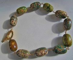 Rhyolite and Vermeil Wire-Looped Necklace by SadiesAccessories