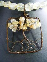 Citrine Chip Leaves With Bronze Bark In Bronze by BacktoEarthCreations