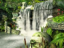 Mayan waterfall background 3 by indigodeep