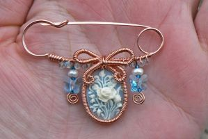 Aquamarine Cameo Pin by magpie-poet
