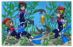 Sakura and Friends with Penguins by BlueHedgehog25