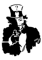 Anonymous Uncle Sam STENCIL A4 by OpGraffiti